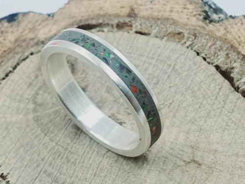 925er Silberring _ Inlay mit Opalsplitter_ personalisierbar.