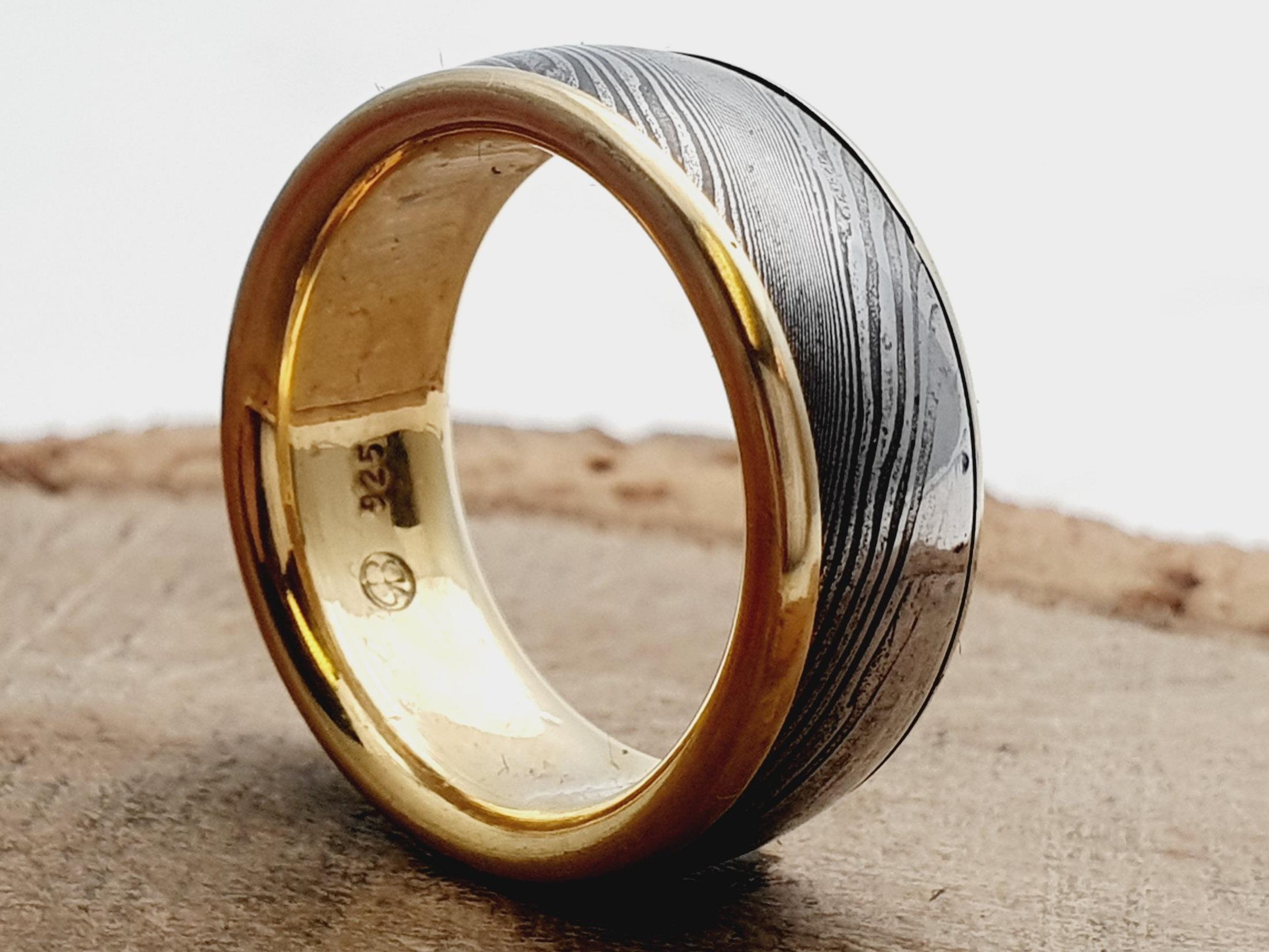 Damaszener Stahl kombiniert mit Silber / 14k teilvergoldet / personalisierbar