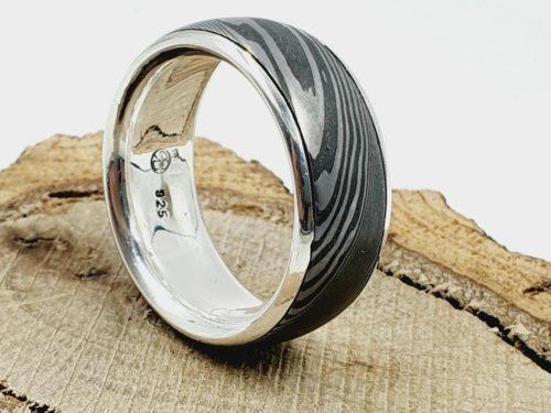 Damaszener Stahl kombiniert mit massivem Silber / personalisierbar