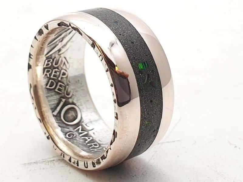 Münzring Silber aus 10 DM Münze Inlay mit Opalsplitter personalisierbar