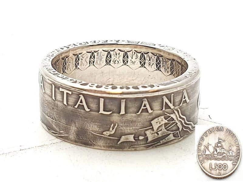 Münzring aus 500 Lire Silbermünze Italien personalisierbar