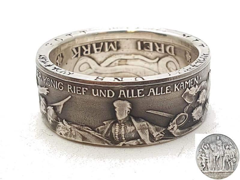 Münzring aus Kaiserreich 1913 Silber 900er personalisierbar