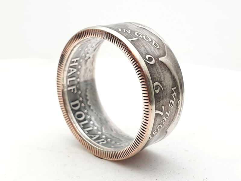 Münzring aus 1/2 Dollar Silber Münze USA personalisierbar
