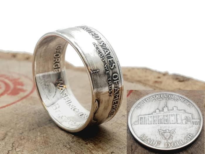 Münzring aus 1/2 Dollar Silbermünze USA personalisierbar