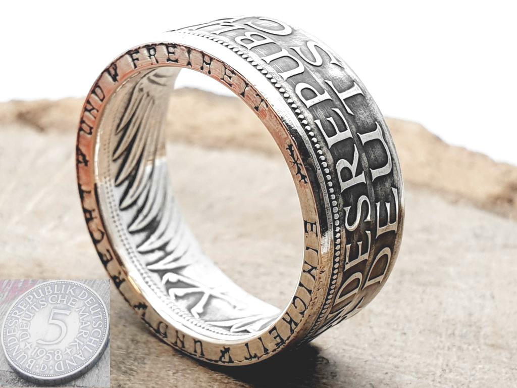 Silberring, aus 5 DM Silbermünze/ mit Wunschprägejahr/ personalisierbar