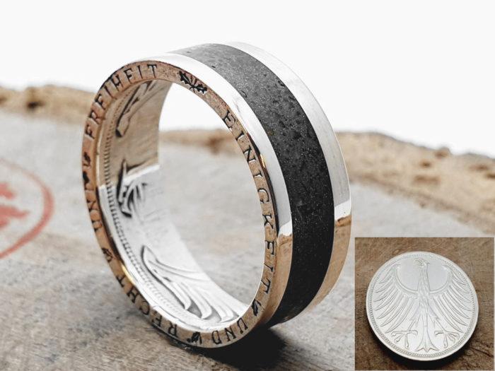Silberring, aus 5 DM Silbermünze_ Inlay - Schwarzer Turmalin_ personalisierbar