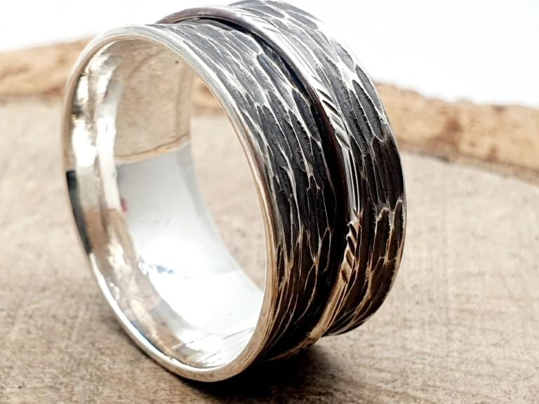 925er Silber, Drehring_gehämmert_ personalisierbar