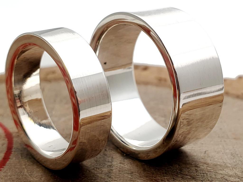 925er Silber Partner/Eheringe / poliert / personalisierbar