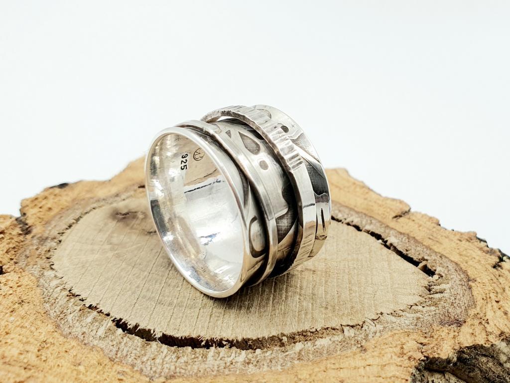 925er Silberring, Drehring mit Blütenmuster / personalisierbar