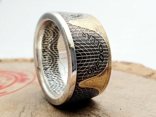 Münzring, Seestern vergoldet, Cook Islands Silver Star 2021 1 oz 999 Silber Silbermünze