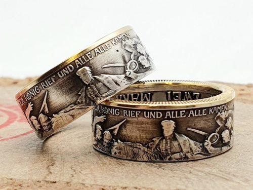 Partnerringe (teilvergoldet) aus 900 Silber, Münzen aus der Kaiserzeit, personalisierbar