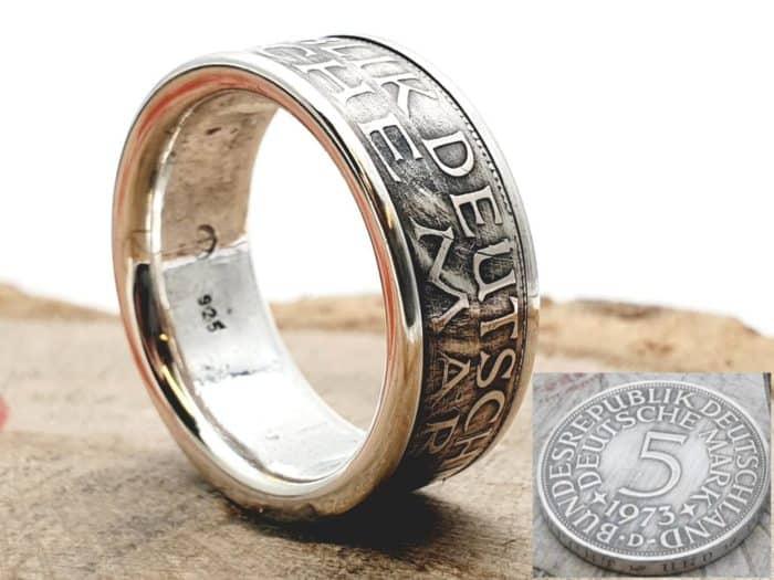 Münzring aus 5 DM Silbermünze mit Wunschprägejahr kombiniert mit massivem 925er Silber personalisierbar