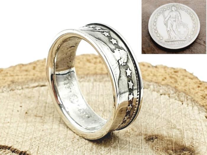 Münzring 1 Franken Silber Schweiz kombiniert mit 925er Silber personalisierbar