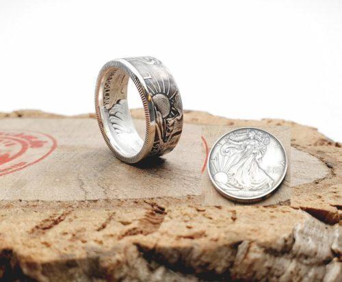 Münzring, 900 Silber, aus einem 1/2 Half Dollar USA Silber 1943 Walking Liberty