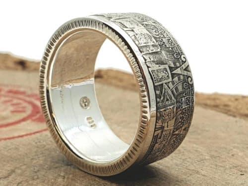 Münzring Silber Maya Kalender