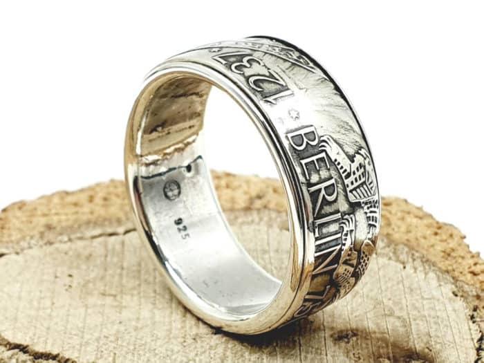 Münzring aus 10 DM Silbermünze Berlin kombiniert mit 925er Silber personalisierbar