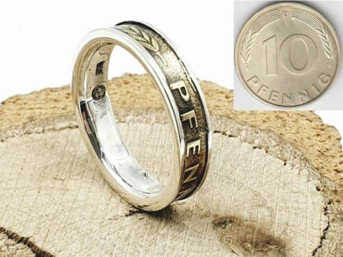 Münzring aus 10 Pfennig kombiniert mit 925er Silber personalisierbar