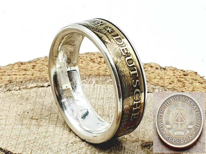 Münzring aus 20 Pfennig DDR kombiniert mit massivem Silber personalisierbar
