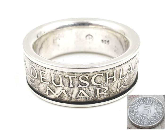 Münzring aus 5 DM Münze mit Wunschprägejahr kombiniert mit massivem 925er Silber personalisierbar