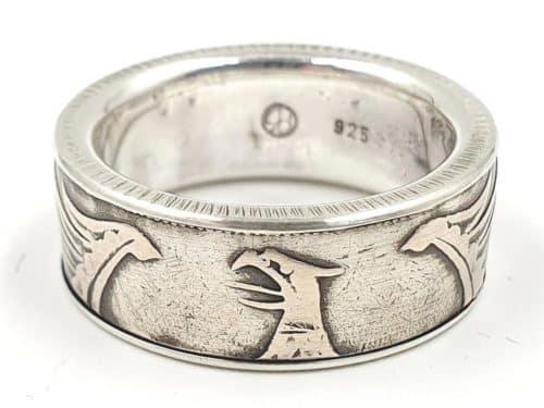 Münzring aus 5 DM Silbermünze mit Bundesadler kombiniert mit massivem 925er Silber personalisierbar