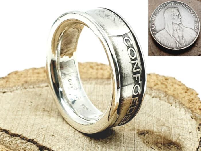 Münzring aus 5 Franken Helveticia Silbermünze kombiniert mit 925er Silber personalisierbar