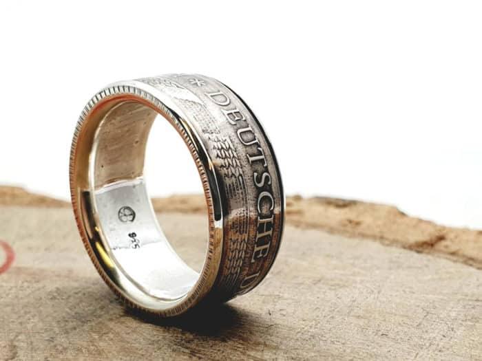 Münzring aus 5 Mark DDR kombiniert mit massivem 925er Silber personalisierbar