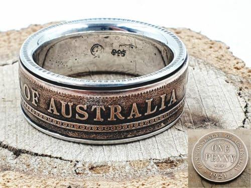 Münzring aus Australien Münze kombiniert mit massivem 925er Silber personalisierbar