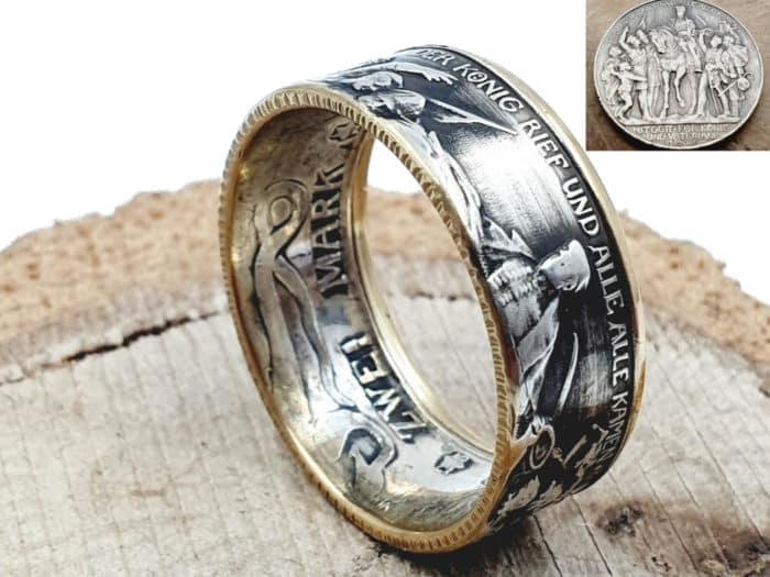 Münzring teilvergoldet 900 Silber aus der Kaiserzeit personalisierbar