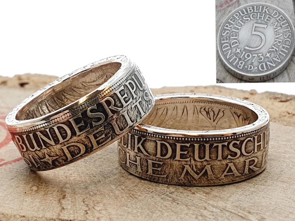 Münzringe Partnerringe aus 5 DM Silbermünzen personalisierbar