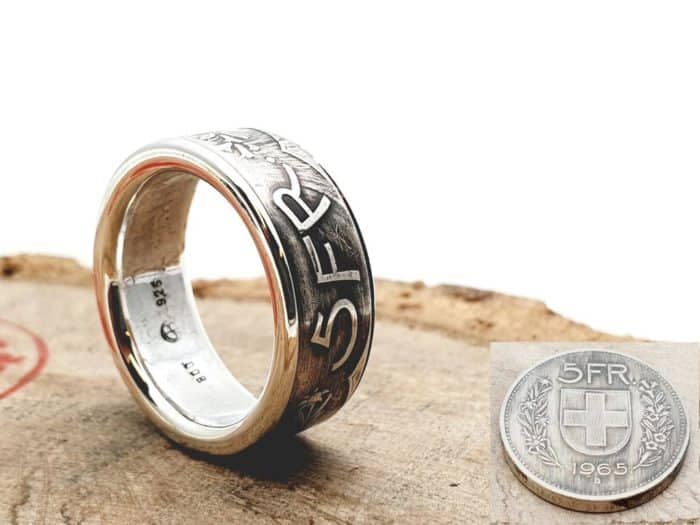 Münzring aus 5 Franken Silbermünze kombiniert mit massivem Silber personalisierbar