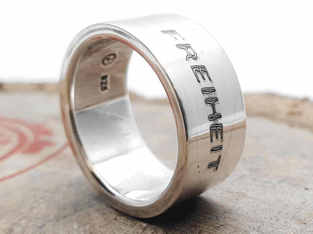 925er Silberring poliert personalisierte Gravur