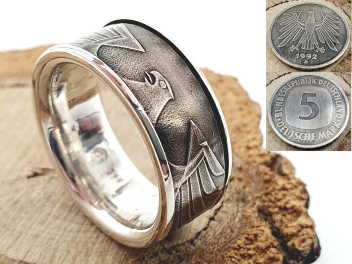 Münzring aus 5 DM Münze mit Wunschprägejahr 1975 bis 2001 kombiniert mit 925er Silber personalisierbar