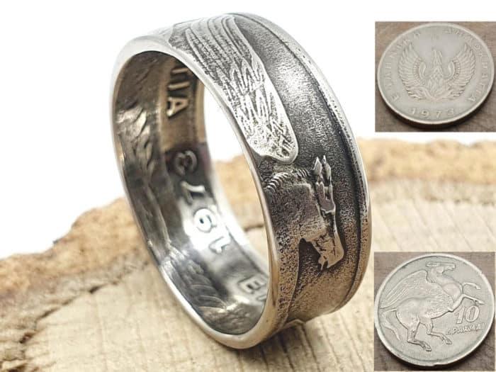 Münzring aus griechischer 10 Drachmen Münze Pegasus