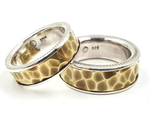 Partnerringe Eheringe Silber mit Teilvergoldung personalisierte Gravur
