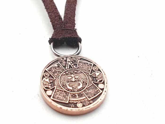 Kettenanhänger Kupfer Atzteken Maya Kalender