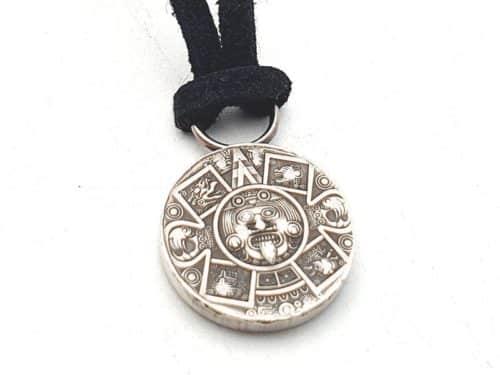 Kettenanhänger Silber Atzteken Maya Kalender