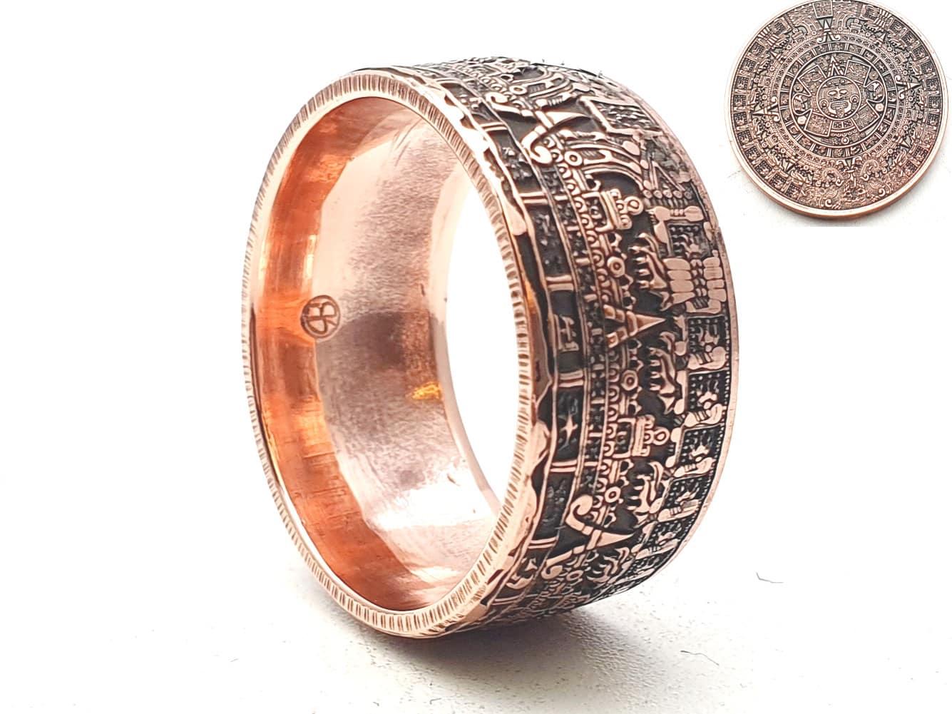 Münzring Kupfer mit Motiv Maya Kalender