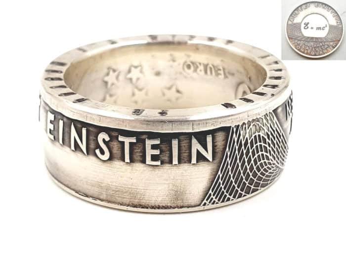 Münzring aus 10 Euro 2005 Albert Einstein Silber personalisierbar