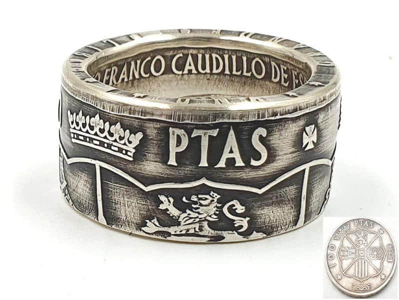 Münzring aus 100 Ptas Silbermünze Spanien personalisierbar
