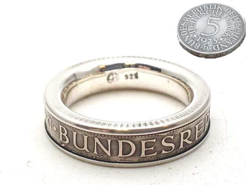 Münzring aus 5 DM kombiniert mit massivem 925er Silber personalisierte Gravur