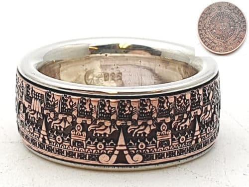 Münzring aus Atzteken Maya Kalender kombiniert mit massivem Silber personalisierte Gravur