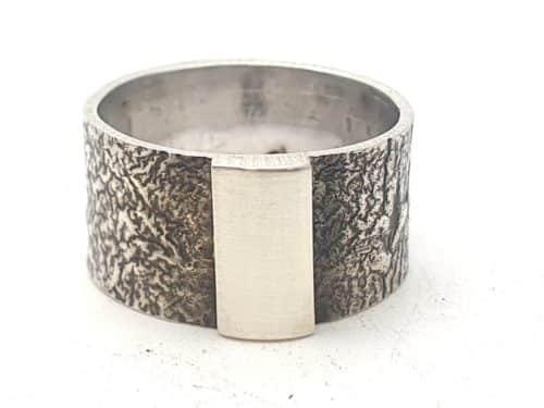 Silberring 925er mit Stuktur personalisierbar Gr.: 62/19,7 mm