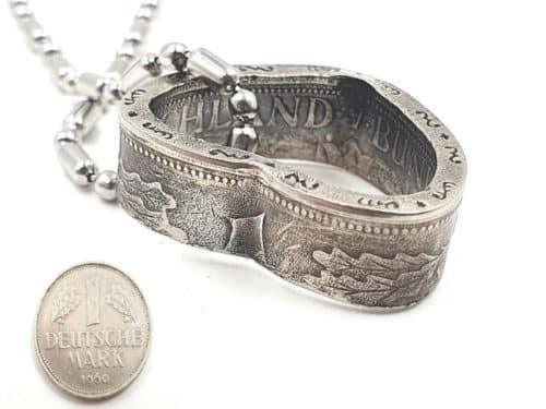Herzanhänger aus original 1 DM Münze mit Wunschjahrgang