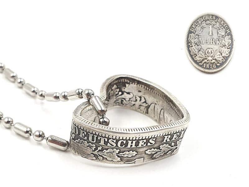 Herzanhänger aus original 1 Mark Silbermünze Kaiserzeit