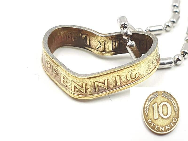 Herzanhänger aus original 10 Pfennig DM Münze