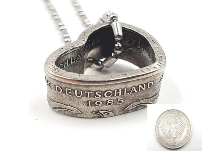 Herzanhänger aus original 2 DM Münze mit Wunschjahrgang
