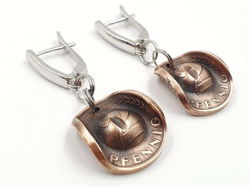 Ohrringe Cowboy Hut Münzen 2 Pfennig mit Wunschprägejahr