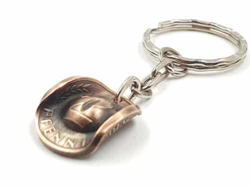 Schlüsselanhänger Cowboy Hut Münze 2 Pfennig mit Wunschprägejahr