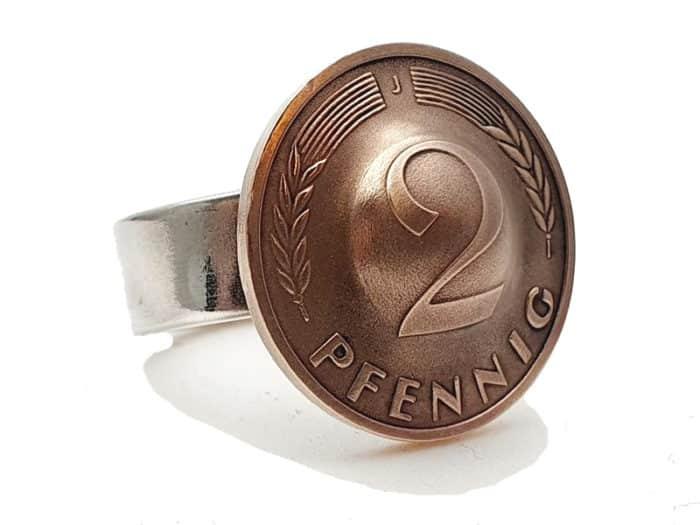 Silberring mit 2 Pfennig Münze Wunschprägejahr