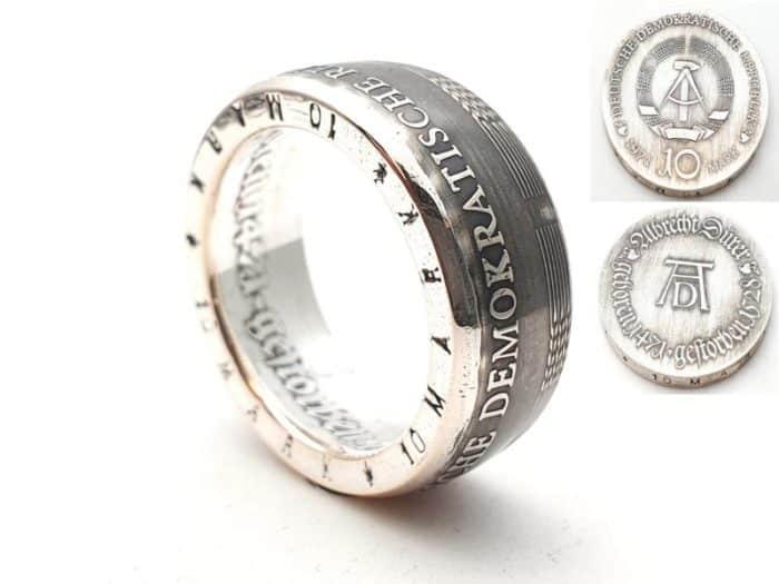 Münzring Silber aus 10 Mark DDR personalisierbar